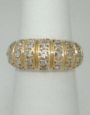 LADIES 14K YELLOW GOLD 1/2ct ROUND DIAMOND WIDE WEDDING BAND DOME RING 4 1/2 8mm