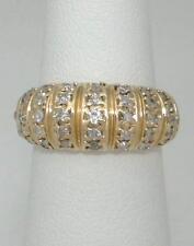 LADIES 14K YELLOW GOLD 1/2ct ROUND DIAMOND WIDE WEDDING BAND DOME RING 4 1/2 8mm