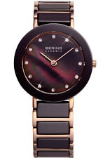Bering Womens 11429-765 Ceramic Brown Dial Rose Gold Stainless Steel Band Watch