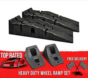 Vehicle Ramps Car Lifting 12000 Lbs Capacity + Wheel Chocks Automotive Repair