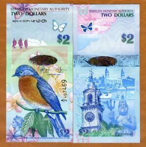 Bermuda, $2, 2009 (2018), Hybrid, P-57, A/2-Prefix, QEII, UNC > New Signature