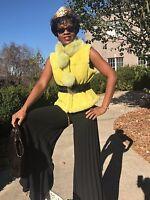 Designer Morris Kaye Yellow lime Green Shearling & fox Fur Vest Coat jacket S-M
