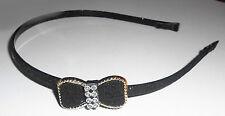 Serre-tête fin noeud papillon et strass couleur noir à paillettes ST0124E