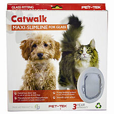 CATWALK Maxi SLIMLINE Glass Fitting Superior Cat & Dog Door Large Clear 4 Lock