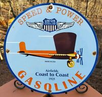 VINTAGE SPEED AND POWER GASOLINE AVIATION PORCELAIN PUMP PLATE GAS SIGN 1925