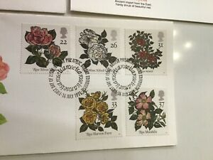 GB stamps FDC 1991 Roses Fleetwood Limited Edition SHS collection
