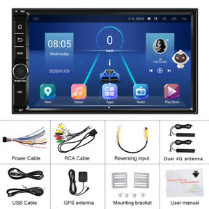 """7"""" Android 10.0 Double Din Car Stereo Touch Screen Car Radio Bluetooth Head Unit"""