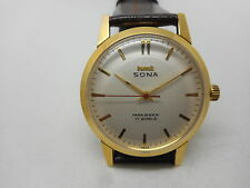 rare HMT SONA GOLD PLATED HAND WINDING MENS WHITE DIAL WATCH RUN ORDER .sqd70