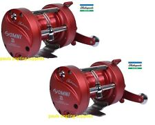 2 x  Shakespeare OMNI  Left Hand LH Wind Multiplier Reel  Boat Fishing Red Line