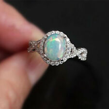 Hollow Women White Fire Opal Jewelry Crystal Charm Gems 925 Silver Filled Rings