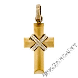 """New Mens Italian 14K Yellow White Gold Domed Sandblast Grooved """"X"""" Cross Pendant"""