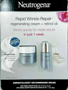 Neutrogena Rapid Wrinkle Repair Regenerating Cream 1.7 oz and Retinol Oil 0.5oz