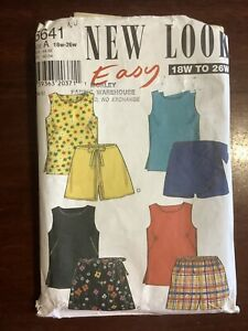 New Vintage NEW LOOK Misses Easy Shorts & Top Pattern 6641 Size 18W - 26W