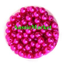50 x pink fuchsia loose beads imitation pearls round necklace bracelet girls 8mm