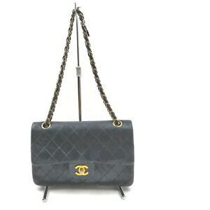 Chanel Shoulder Bag Double Flap Black Leather 1410604
