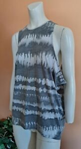 Lucy Running Tennis Athletic Tank Top Shirt Women's Size M Poly/Wool White/Gray
