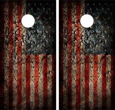 DAMAGED AMERICAN FLAG .Cornhole Board Game Decal Wraps Vinyl Sticker USA