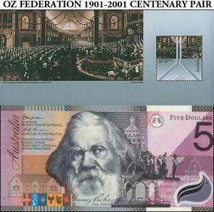 2001 Australian aUnc Centenary Federation $5 Polymer + Commemorative Stamp Sheet