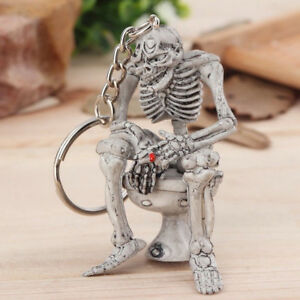1pc Rubber Vogue Keychain Gray Car Keyring Key Chain Cool Skull Toilet Gift
