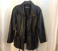 Kenneth Cole Reaction Women's Black Leather Belted Coat Size L
