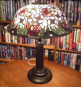 Antique Tiffany Inspired Leaded Stained Glass Lamp Handel Chicago Brothers Style