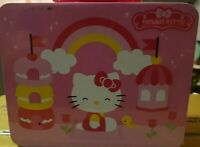 HELLO KITTY TIN METAL LUNCHBOX. Good Condition vintage retro pink