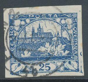 TSCHECHOSLOWAKEI 1918 Hradschin 25 H blau ungezähnt, ABART: Farbklecksen VFU