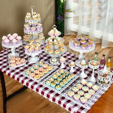 12pcs Cakes Display Plates Kit White Wedding Cake Stands Cupcake Plate Supplies