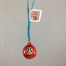 Japanese Netsuke Key Chain Bell Charm Red Lucky Daruma for Success Made in Japan