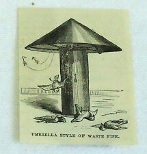 1878 small magazine engraving~ UMBRELLA STYLE OF WASTE PIPE ~ sewer, plumbing
