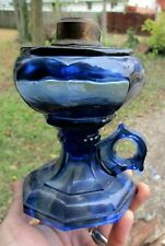 Pretty Blue Colored Glass Fancy Finger Lamp 1920'S Era Clean Decorative L@K