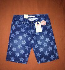 NWT LEVIS Girls Sz 12 Bermuda Jean SHORTS Blue Star print