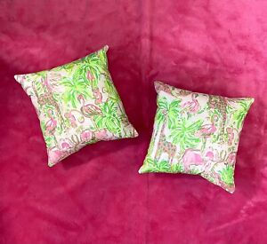New Set Of 2 throw pillows made with LILLY PULITZER Pink On Parade fabric