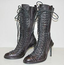 36 ANN DEMEULEMEESTER Purple Leather Victorian Triple Lace Up Stiletto Boots
