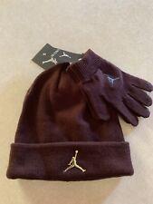 NWT Nike Air Jordan Boys Youth Beanie Hat & Gloves Set Size 8/20 Burgundy Crush