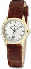 Mens Charles Hubert IP-plated Stainless Steel Leather Band 37mm Watch