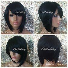 Synthetic Full Wigs For Women Short Straight Bob Bangs #1b Off Black Heat Safe