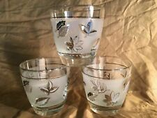 3 LIBBEY fall leaves metallic silver frosted short tumbler glasses vintage 3.25""