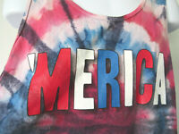 Lg TIE DYE TANK TOP 'Merica America American USA red white blue sleeveless funny