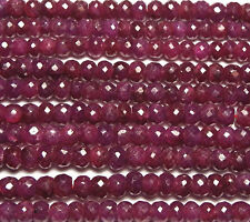 """16"""" Strand Genuine RUBY 4-4.5mm Faceted Rondelle Beads /d3"""