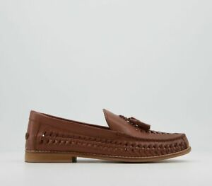 Mens Office Clapton Woven Tassel Loafers Tan Leather Casual Shoes
