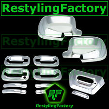 02-06 Chevy Avalanche Chrome FULL Mirror Cover+4 Door Handle No PSG KH+Tailgate