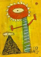 21012201 e9Art ACEO Eye Abstract Figurative Primitive Outsider Art Painting Brut
