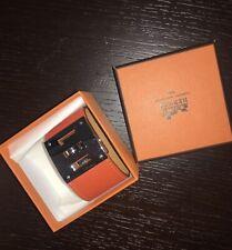 Hermes Kelly Dog Bracelet Cuff Leather Palladium Plated With Box
