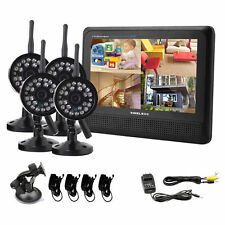"NEW Wireless 4CH Quad DVR4 Cameras with 7"" TFT-LCD Monitor Home security system"