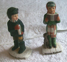 Norman Rockwell Figurines Of Girl Caroling And Boy Carrying Book #S 202 &203