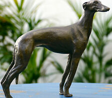 LOVELY GREYHOUND WHIPPET GENUINE PURE BRONZE STATUE FIGURE see my other items