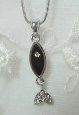 Christian Fish Pendant Necklace Silver Black Crystal Fashion Jewelry NEW