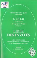 La France V IRLANDE 2004 RUGBY carte de menu dîner liste & commentaires