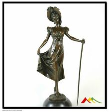 BRONZE ART DECO STATUE THE SHEPHERDESS SIGNED PREISS